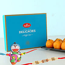 Motichoor Laddu And 2 Rakhis Festive Combo: Gifts for Kids to London