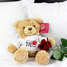 Personalised Heart Message Bear: Send Roses to UK