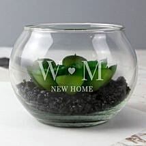 Personalised Initials Glass Terrarium: Send Gifts to Manchester, UK