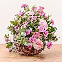 Pink Basket Arrangement: Sympathy & Funeral Flowers to UK