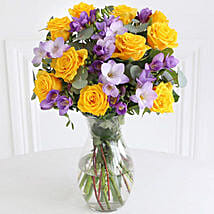 Rose n Freesia Bouquet: Send Gifts to Leeds
