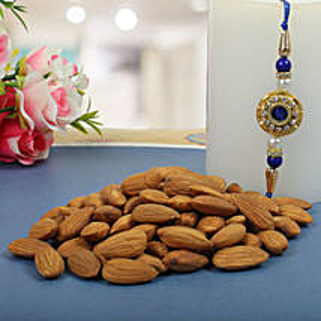 Royal Rajwadi Blue diamond with almond: Send Rakhi With Dryfruits to UK