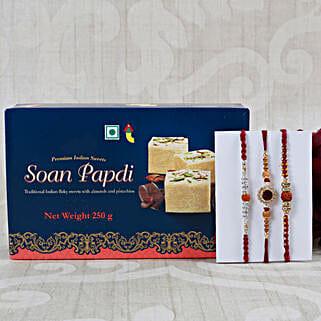 Rudraksha Rakhi Set with Soan Papdi: Rakhi Delivery in London, UK