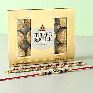 Set of 2 Rakhis And Ferrero Rocher Box: