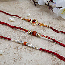 Three Beautiful Rakhi Set: Set of 3 Rakhi to UK