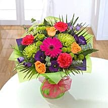Vibrant Hand tied Bouquet: Send Thank You Gifts to UK