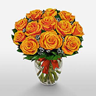 12 Long Stem Orange Roses: House Warming Flowers to USA