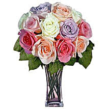 12 Long Stem Pastel Roses: Valentine's Day Rose Delivery in USA