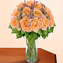 12 Long Stem Peach Roses: Valentine's Day Rose Delivery in USA