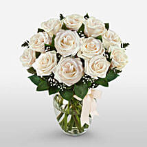 12 Long Stem White Roses: Valentine's Day Rose Delivery in USA