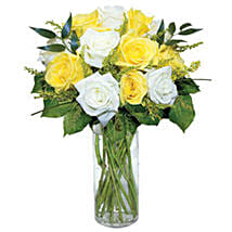 12 Long Stem Yellow and White Roses: Get Well Soon Flowers to USA