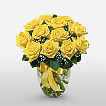 12 Long Stem Yellow Roses: Send House Warming Flowers to USA