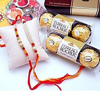 12 PCS Ferrero Rocher with 2 Rakhis: Send Set of 2 Rakhi to USA