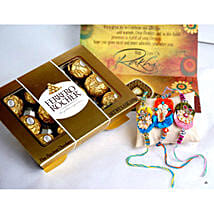 12 PCS Ferrero Rocher with 3 Rakhis: Rakhi Delivery in USA