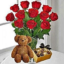 12 Red Roses Chocolates and Bear: Valentine Flowers to USA