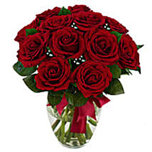 12 stem Red Rose Bouquet: Valentine's Day Flowers USA