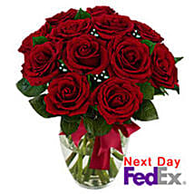12 stem Red Rose Bouquet: Valentine's Day Gifts to Kansas City
