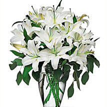20 White Oriental Lilies: Send Mothers Day Flowers to USA