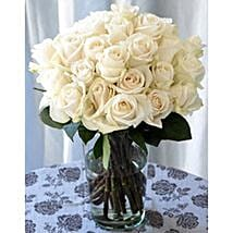 25 Long Stem White Roses: Send Flowers to Ontario