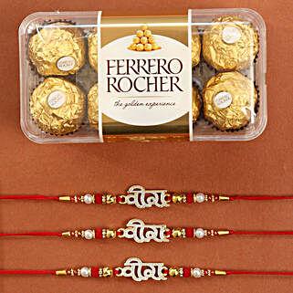 3 Veera Rakhis And Rocher Choco Combo: Set of 3 Rakhi to USA