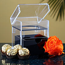 Acrylic Box Of Forever Rose Ferrero Rocher: Flowers N Chocolates to USA