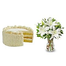 All White: Mothers Day Flowers & Cakes to USA
