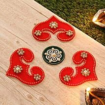 Amazing Red N Green Fiber Rangoli: Send Diwali Gifts to USA