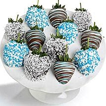 Baby Boy Chocolate Covered Strawberries 12 Pieces: Chocolates for Birthday