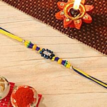 Blue And Yellow Beaded Rakhi: Send Rakhi to USA