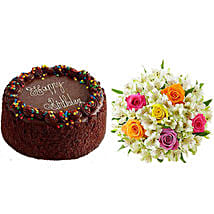 Chocolate Cake with Assorted Rose and Lily Bouquet: Gifts to Detroit