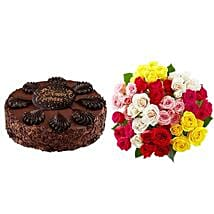 Chocolate Cake with Assorted Roses: Cake Delivery in USA