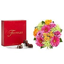 Colorful Bloom with Chocolates: Flowers N Chocolates to USA