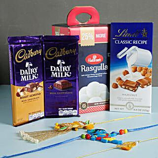 Colorful Rakhis And Chocolates Combo: Set of 3 Rakhi to USA