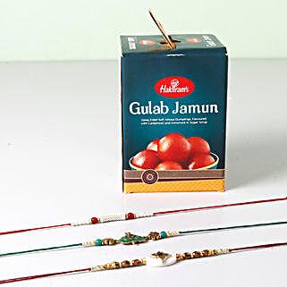 Combo of Gulab Jamun And 3 Opulent Rakhis: Send Rakhi Combos to USA