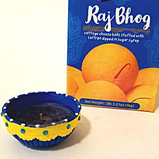 Designer Diya Set & Raj Bhog Combo: Send Diwali Gifts to USA