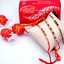 Elegant Rakhi Set with Lindor Milk Truffles Pack: Rakhi Delivery in USA