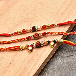 Elegant Rakhi Threads Set of Three: Send Set of 3 Rakhi to USA