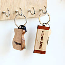 Engraved Personalised Wooden Key Chains Set of 2: Personalised Gifts USA