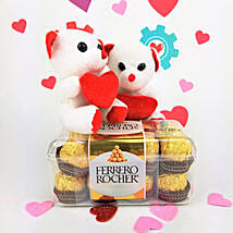 Ferrero Rocher Chocolates N Teddy Combo: Valentine's Day Gifts to Columbus