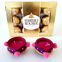 Ferrero Rocher & Designer Diyas Combo: Send Diwali Gifts to Chicago