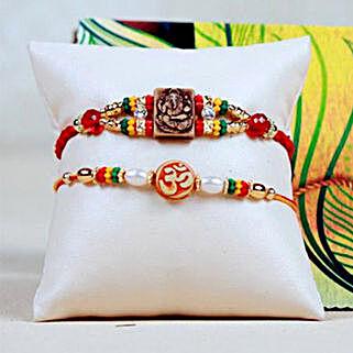 Ganesha OM Rakhi Set: Send Set of 2 Rakhi to USA