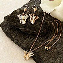 Golden Butterfly Pendant Set: Valentine's Day Gifts to Kansas City