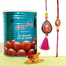 Gulab Jamun And Lumba Rakhi Set: Rakhi to Plano