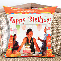 Happy Bday Personalized Cushion: Send Birthday Gifts to USA