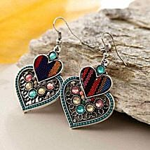 Multicolor Double Heart Earring: Send Valentine Gifts to San Francisco