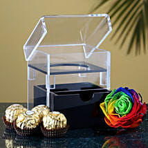 Multicolour Eternal Rose Ferrero Rocher: Flowers and Chocolates Delivery in USA