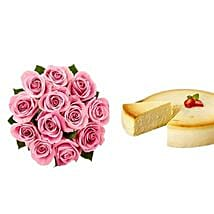 NY Cheescake with Pink Roses: Flowers & Cake for Mothers Day