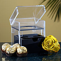 Olive Green Forever Rose Chocolates Combo: Flowers and Chocolates Delivery in USA