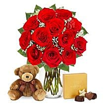 One Dozen Roses with Godiva Chocolates and Bear: Birthday Gifts to San Diego
