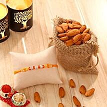 Orange Stone bead Rakhi with Almonds: Send Rakhi to USA